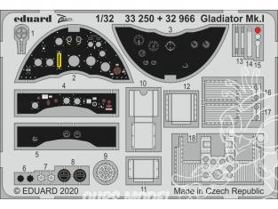 Eduard photodécoupe avion 33250 Zoom Amélioration Gladiator Mk.I Icm 1/32