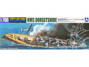 Aoshima maquette bateau 52662 HMS Dorsetshire Croiseur Lourd Water Line Series 1/700