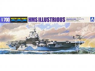 Aoshima maquette bateau 51047 HMS Illustrious Porte-avions Water Line Series 1/700