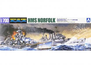 Aoshima maquette bateau 56691 HMS Norfolk Croiseur Lourd Water Line Series 1/700