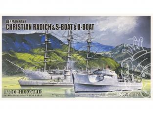 Aoshima maquette bateau 56578 Marine Allemande Christian Radich & S-Boat & U-Boat 1/350
