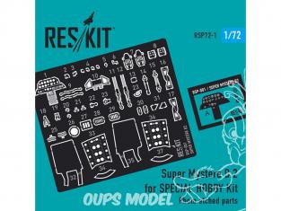 ResKit kit d'amelioration Avion RSP72-0001 Kit Super Mystere B.2 pour AZUR (pièces gravées photo) 1/72
