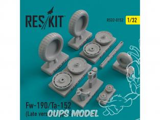 ResKit kit d'amelioration Avion RS32-0152 Ensemble de roues Fw-190/Ta-152 (Late version) Type 2 1/48
