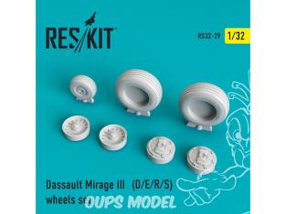 ResKit kit d'amelioration Avion RS32-0029 Ensemble de roues Mirage III (D/E/R/S) 1/48