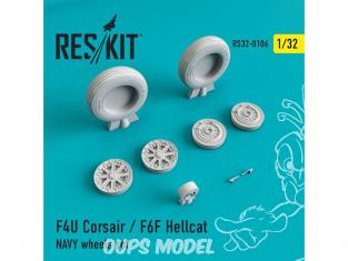 ResKit kit d'amelioration Avion RS32-0106 Ensemble de roues F4U Corsair / F6F Hellcat NAVY 1/48