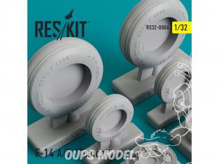"""ResKit kit d'amelioration Avion RS32-0006 Ensemble de roues F-14 (A/B) """"Tomcat"""" 1/48"""