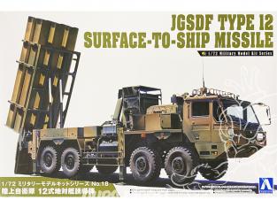 Aoshima maquette militaire 55373 JGSDF Type 12 Missile Sol-Mer 1/72