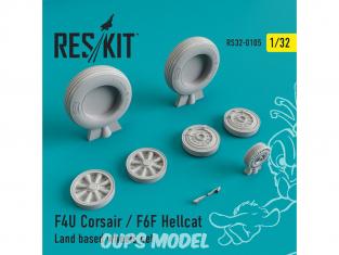ResKit kit d'amelioration Avion RS32-0105 Ensemble de roues F4U Corsair / F6F Hellcat Terrestre 1/48