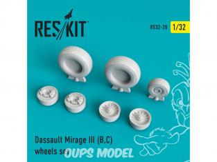 ResKit kit d'amelioration Avion RS32-0028 Ensemble de roues Mirage III (B,C) 1/48