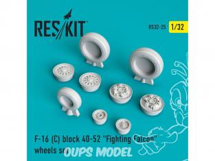"ResKit kit d'amelioration Avion RS32-0025 Ensemble de roues F-16 (C) block 40-52 ""Fighting Falcon"" 1/48"