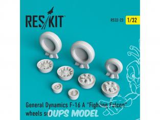 """ResKit kit d'amelioration Avion RS32-0023 Ensemble de roues F-16 (A) """"Fighting Falcon"""" 1/32"""