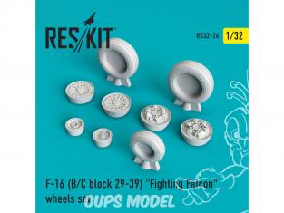 "ResKit kit d'amelioration Avion RS32-0024 Ensemble de roues F-16 (B/C) block 25-32 ""Fighting Falcon"" 1/48"