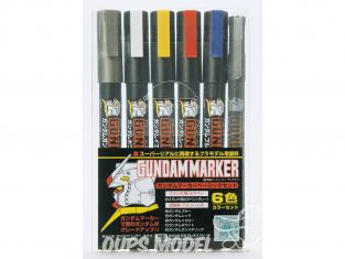 Mr Hobby GMS-105 Ensemble de 6 couleurs Gundam Marker Basic