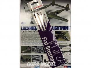 HUMBROL Pinceau Blister AG4305 Pack de brosses plates 3 5 7 et 10mm poil synthetique