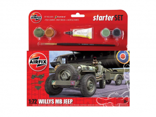 Airfix maquette militaire A55117 Small Starter Set Willys MB Jeep avec remorque et canon 1/72