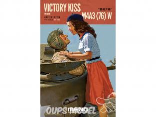 Meng maquette militaire ES-006 Sherman M4A3(76)W Victory Kiss avec figurines en resine 1/35