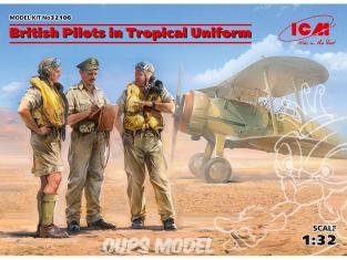 Icm maquette avion 32106 Pilotes britanniques en uniforme tropical 1939-1943 3 figurines 100% nouveaux moules 1/32