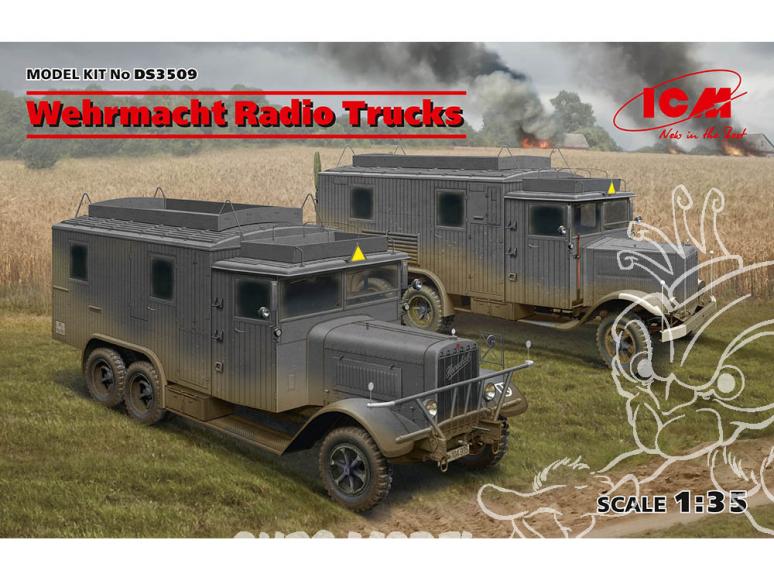 Icm maquette militaire DS3509 Camions radio de la Wehrmacht Henschel 33D1 Kfz.72, et Krupp L3H163 Kfz.72 1/35