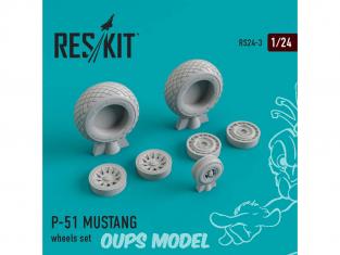 ResKit kit d'amelioration avion RS24-0003 Ensemble de roues P-51 MUSTANG 1/24