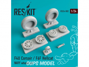 ResKit kit d'amelioration avion RS24-0002 Ensemble de roues F4U Corsair / F6F Hellcat NAVY 1/72