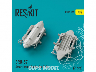 ResKit kit d'amelioration Avion RS32-0176 Porte-bombes intelligents BRU-57 pour F-16 (2 pièces) 1/32