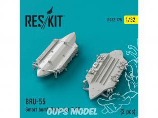 ResKit kit d'amelioration Avion RS32-0175 Porte-bombes intelligents BRU-55 pour F-18 (2 pièces) 1/32