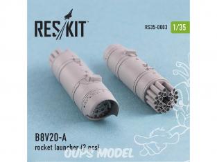ResKit Kit RS35-0003 Lance-roquettes B8V20-A 2 pcs Mi-24, Mi-8,Toyota Hilux, BTR-70, URAL 1/35