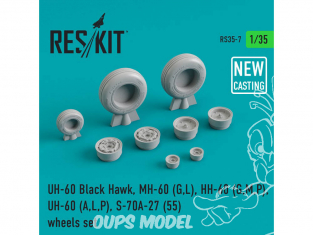 ResKit Kit RS35-0007 Ensemble de roues pour UH-60 Black Hawk, MH-60 (G,L), HH-60 (G,M,P), UH-60 (A,L,P) S-70A-27 (55) 1/35
