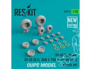 ResKit Kit RS35-0008 Ensemble de roues pour SH-60 Seahawk, SH-60 (B,F) RAN S-70B-2, HH-60 (H, J) wheels set (NEW CASTING) 1/35