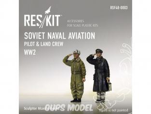 ResKit kit Figurine RSF48-0003 Pilote de l'aviation navale soviétique et équipage terrestre WWII 1/48