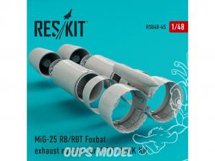 ResKit kit d'amelioration Avion RSU48-0045 Tuyère pour MiG-25 RB, RBT, BM, RBK, RBF, RBSh Foxbat kit Kitty Hawk 1/48