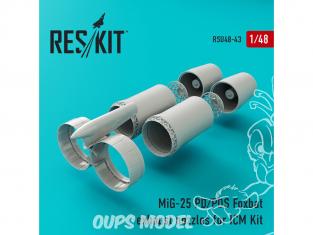 ResKit kit d'amelioration Avion RSU48-0043 Tuyère pour MiG-25 (P, PD, PDS) Foxbat kit ICM 1/48