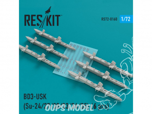 ResKit kit d'amelioration Avion RS72-0160 Racks BD3-USK (6 pièces) SU-24 27 30 33 34 et 35 1/72