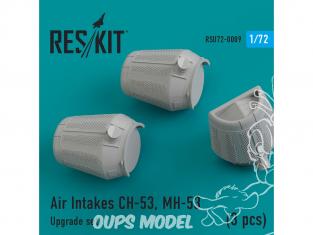 ResKit kit d'amelioration helico RSU72-0009 Prises d'air CH-53, MH-53 (3 pièces) kit Revell, italeri et Fujimi 1/72