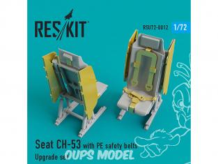 ResKit kit d'amelioration helico RSU72-0012 Siège CH-53, MH-53 avec ceintures de sécurité en PE 1/72