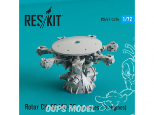 ResKit kit d'amelioration helico RSU72-0024 Rotor CH-53 Super Stallion, MH-53E Sea dragon 7 pales 3 moteurs 1/72