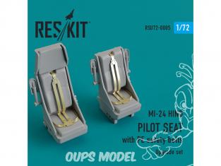 ResKit kit d'amelioration helico RSU72-0005 MI-24 Hind Siège pilote avec ceintures de sécurité en PE 1/72