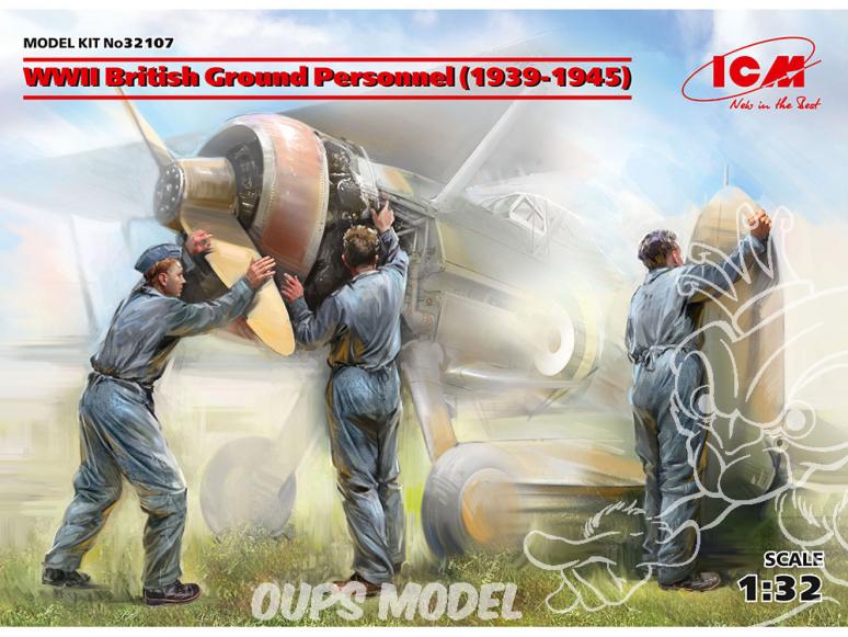 Icm maquette avion 32107 Personnel au sol britannique WWII 3 personnages 100% nouveaux moules 1/32