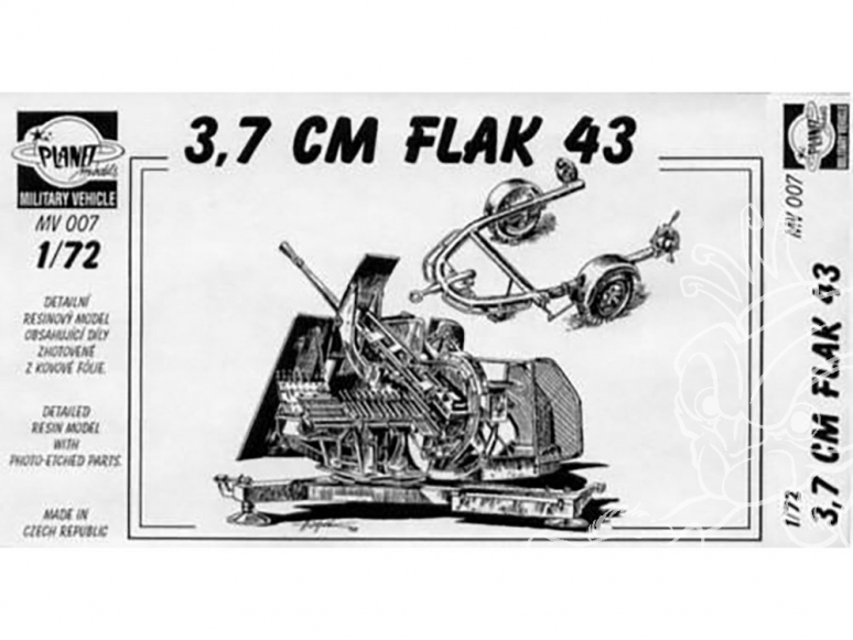 Planet Maquettes Militaire mv007 Canon anti aérien 3,7cm Flak 43 full resine kit 1/72