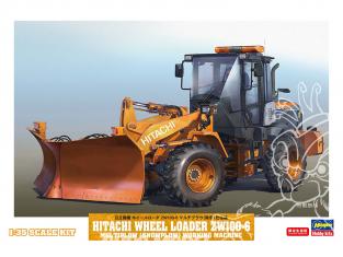 Hasegawa maquette travaux public 66102 Hitachi Chargeuse sur pneus ZW100-6 lame déneigement 1/35