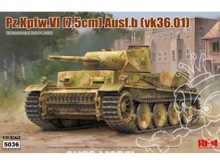 Rye Field Model maquette militaire 5036 Pz.Kpfw.VI (7.5cm) Ausf.B (vk.36.01) avec chenilles maillon par maillon 1/35