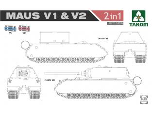 Takom maquette militaire 2050X Maus V1 & V2 2 en 1 Edition Limitée 1/35