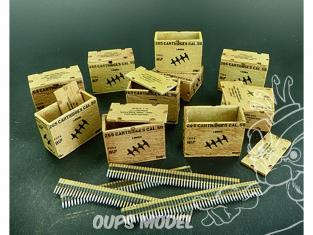 Plus Model Diorama AL3003 Boîtes de munitions américaines avec ceintures de charge 1/32