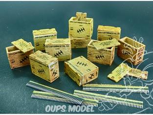 Plus Model AL4088 Boîtes de munitions américaines avec ceintures de charges 1/48