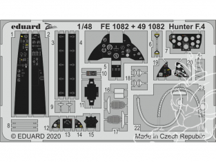 EDUARD photodecoupe avion FE1082 Zoom amélioration Hunter F.4 Airfix 1/48