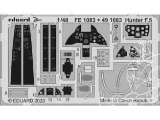 EDUARD photodecoupe avion FE1083 Zoom amélioration Hunter F.5 Airfix 1/48