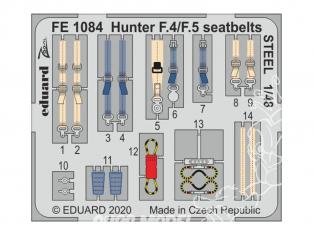 EDUARD photodecoupe avion FE1084 Harnais métal Hunter F.4 / F.5 Airfix 1/48