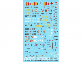 Decalques Berna decals BD72-120 Sud Aviation Alouette III SA 319 B Armée de l'Air 1/72