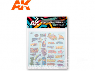AK interactive ak9091 Assortiment de décalques Graffiti 1/32 - 1/35 - 1/72