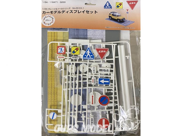 fujimi maquette accessoire voiture 116471 Panneaux routiers Japonais et socle 1/24